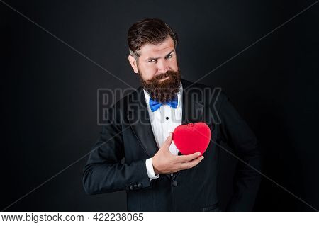 Bearded Man In Formal Tuxedo With Bow Tie Share Love Heart At 14th February Valentines Day, Love