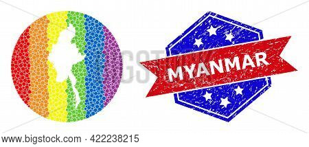 Dot Bright Spectral Map Of Myanmar Collage Composed With Circle And Subtracted Space, And Grunge Sta