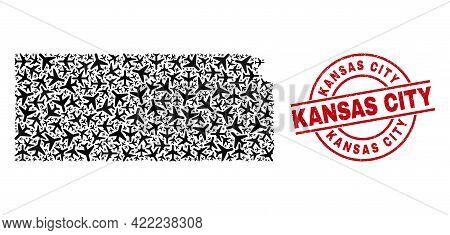 Kansas City Rubber Seal, And Kansas State Map Mosaic Of Aeroplane Elements. Mosaic Kansas State Map