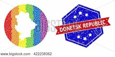 Dotted Spectral Map Of Donetsk Republic Mosaic Designed With Circle And Carved Shape, And Distress S