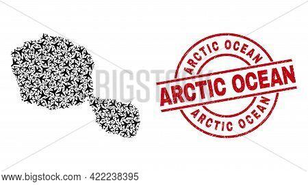 Arctic Ocean Rubber Seal, And Tahiti Island Map Mosaic Of Aviation Items. Mosaic Tahiti Island Map C