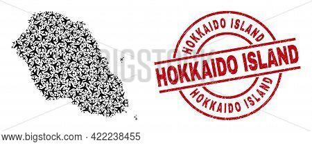 Hokkaido Island Rubber Seal, And Graciosa Island Map Mosaic Of Aviation Elements. Mosaic Graciosa Is