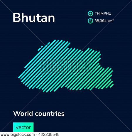 Vector Creative Digital Neon Flat Line Art Abstract Simple Map Of Bhutan With Green, Mint, Turquoise