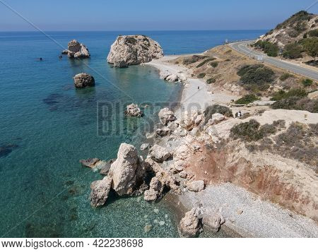Drone View At Aphrodite's Rock And Beach In Cyprus