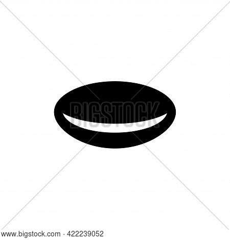 Optical Contact Eye Lens, Ophthalmology. Flat Vector Icon Illustration. Simple Black Symbol On White