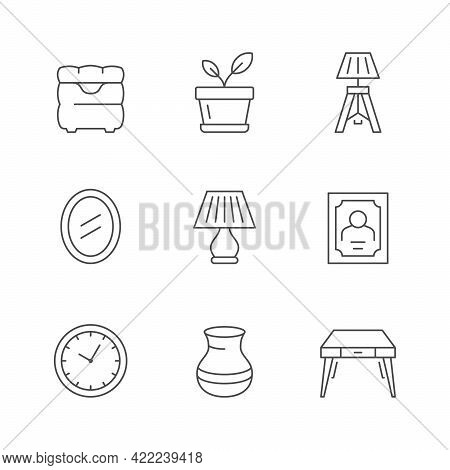 Set Line Icons Of Home Decor Isolated On White.