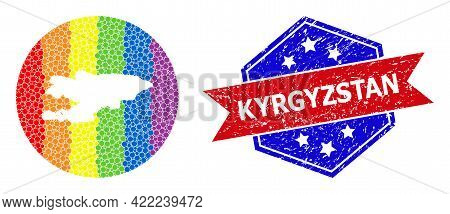 Dotted Spectrum Map Of Kyrgyzstan Mosaic Designed With Circle And Stencil, And Grunge Seal Stamp. Lg
