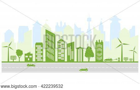 Ecological City And Environment Conservation. Green City Silhouette With Trees, Wind Energy And Sola