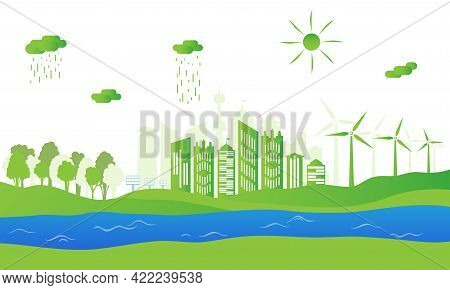 Silhouette Of Ecological City. Green Energy With Wind Energy And Solar Panels. Concept Of Environmen