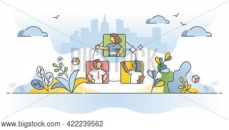 Networking And Social Business Connection And Communication Outline Concept. Distant Chatting Or Tal