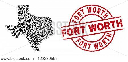 Fort Worth Distress Badge, And Texas State Map Mosaic Of Aviation Items. Mosaic Texas State Map Cons