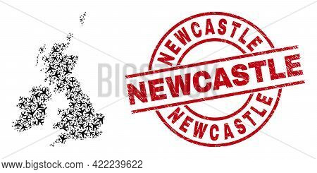 Newcastle Grunged Badge, And Great Britain And Ireland Map Collage Of Aircraft Elements. Collage Gre