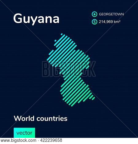 Vector Creative Digital Neon Flat Line Art Abstract Simple Map Of Guyana With Green, Mint, Turquoise
