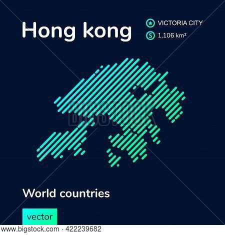 Vector Creative Digital Neon Flat Line Art Abstract Simple Map Of Hong Kong With Green, Mint, Turquo