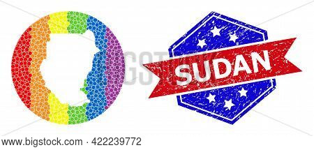 Pixelated Rainbow Gradiented Map Of Sudan Collage Formed With Circle And Subtracted Space, And Grung