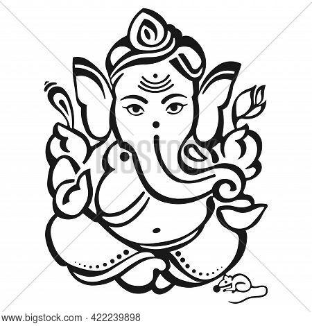 Stylized Image Of Lord Ganesha On A White Background