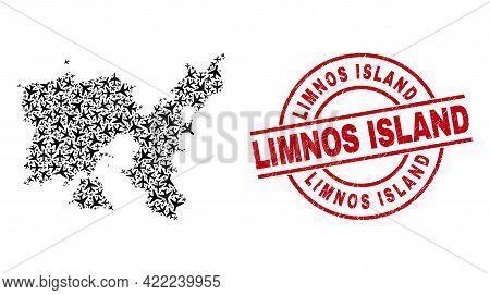 Limnos Island Textured Seal, And Limnos Island Map Mosaic Of Air Force Items. Mosaic Limnos Island M
