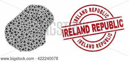 Ireland Republic Distress Badge, And Nauru Map Mosaic Of Airliner Items. Mosaic Nauru Map Designed W