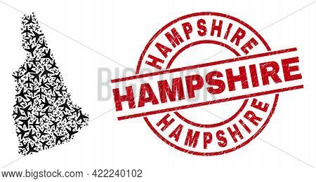 Hampshire Scratched Seal Stamp, And New Hampshire State Map Collage Of Airliner Items. Collage New H