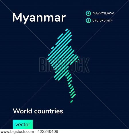 Vector Creative Digital Neon Flat Line Art Abstract Simple Map Of Myanmar With Green, Mint, Turquois
