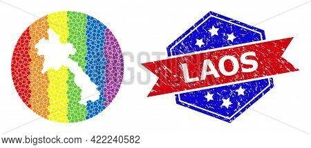 Dotted Spectrum Map Of Laos Collage Created With Circle And Carved Shape, And Grunge Seal Stamp. Lgb