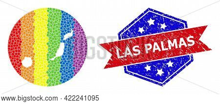 Dotted Rainbow Gradiented Map Of Las Palmas Province Collage Designed With Circle And Hole, And Grun