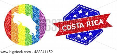Pixel Rainbow Gradiented Map Of Costa Rica Mosaic Designed With Circle And Cut Out Shape, And Scratc
