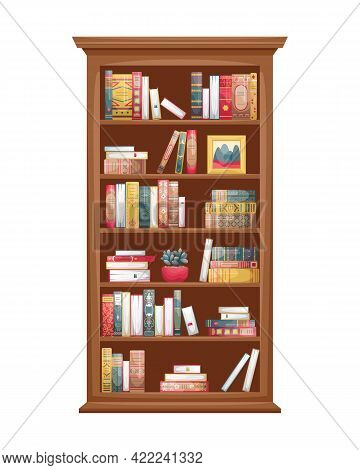 Isolated Illustration Of A Wooden Bookcase With Books. Book Spines In Retro Style.