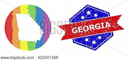 Dotted Bright Spectral Map Of Georgia State Mosaic Created With Circle And Carved Shape, And Scratch