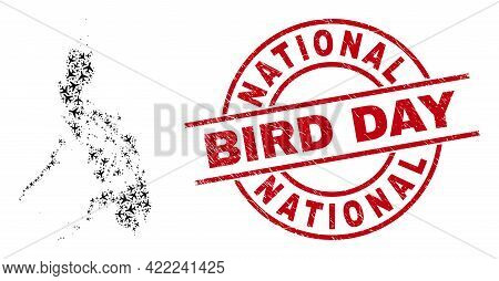National Bird Day Rubber Badge, And Philippines Map Collage Of Aircraft Items. Collage Philippines M