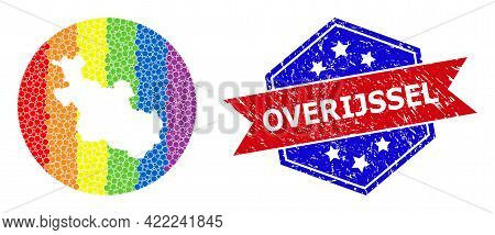 Dotted Spectrum Map Of Overijssel Province Collage Designed With Circle And Carved Shape, And Grunge