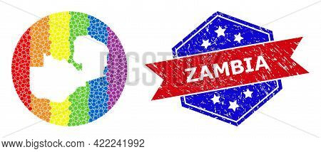 Pixelated Spectral Map Of Zambia Mosaic Designed With Circle And Hole, And Textured Badge. Lgbt Spec