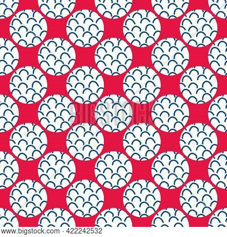 Vector Cute Doodle Wave And Circle Seamless Pattern Background. Red Backdrop With Navy Blue Groups O