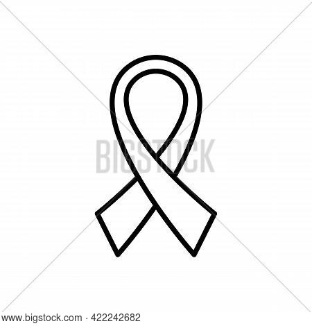 Ribbon Black Outline Icon. Awareness Ribbon. Oncology Cancer Aids Concept. Trendy Flat Isolated Symb