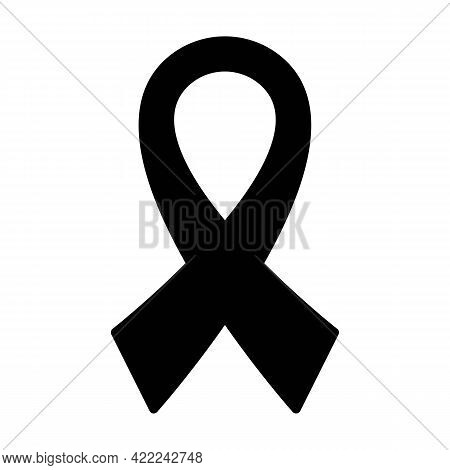 Ribbon Solid Black Icon. Awareness Ribbon. Oncology Cancer Aids Concept. Trendy Flat Isolated Symbol