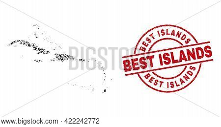 Best Islands Textured Seal Stamp, And Caribbean Islands Map Collage Of Airliner Items. Collage Carib