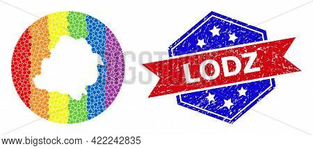 Pixel Spectral Map Of Lodz Province Collage Designed With Circle And Hole, And Grunge Seal Stamp. Lg