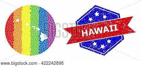Pixel Bright Spectral Map Of Hawaii State Collage Designed With Circle And Carved Shape, And Distres
