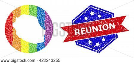 Pixel Rainbow Gradiented Map Of Reunion Island Mosaic Designed With Circle And Cut Out Shape, And Gr