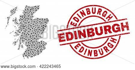 Edinburgh Scratched Seal, And Scotland Map Collage Of Air Force Elements. Mosaic Scotland Map Design