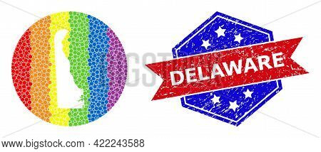 Pixelated Spectrum Map Of Delaware State Collage Created With Circle And Stencil, And Distress Stamp