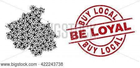 Buy Local Be Loyal Rubber Seal Stamp, And Altai Republic Map Mosaic Of Aircraft Elements. Mosaic Alt