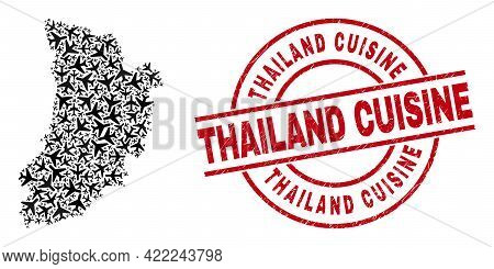 Thailand Cuisine Rubber Stamp, And Lleida Province Map Collage Of Air Force Items. Mosaic Lleida Pro
