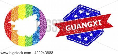 Pixel Bright Spectral Map Of Guangxi Province Collage Designed With Circle And Carved Shape, And Dis