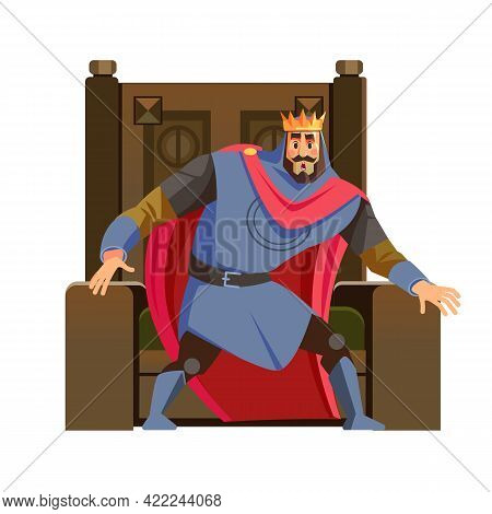King Looks Scared. Frightened King Character Near His Throne. Vector Cartoon Illustration. Isolated