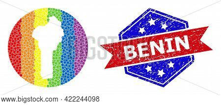 Pixel Rainbow Gradiented Map Of Benin Collage Designed With Circle And Hole, And Grunge Watermark. L