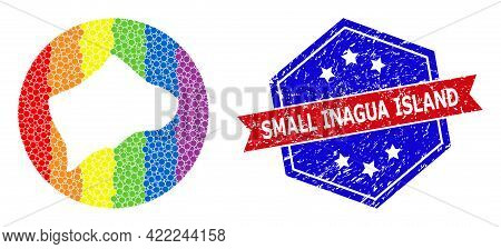 Dot Rainbow Gradiented Map Of Small Inagua Island Mosaic Composed With Circle And Carved Shape, And