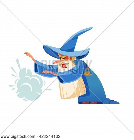 Angry Small Sorcerer. Mysterious Male Magician In Robe Spelling Oldster Merlin Vector Cartoon Charac