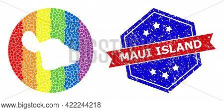 Pixel Spectrum Map Of Maui Island Mosaic Formed With Circle And Subtracted Shape, And Distress Seal