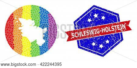 Dotted Bright Spectral Map Of Schleswig-holstein State Mosaic Created With Circle And Subtracted Spa
